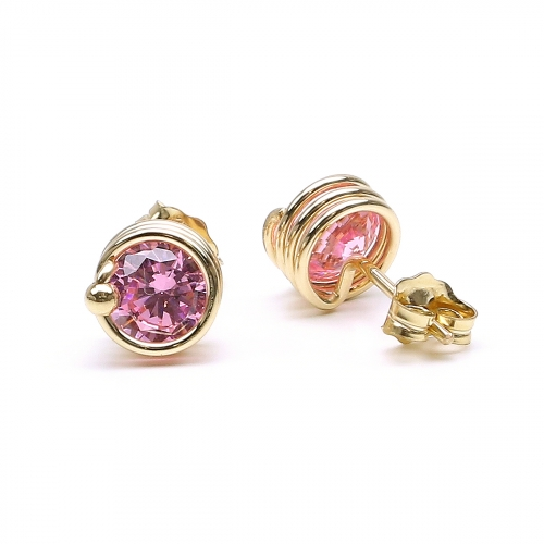 Pink Zirconia stud earrings for women - Busted Rose