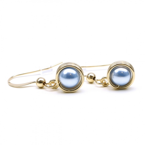 Earrings by Ichiban - Busted Pearls Light Blue