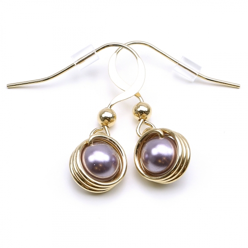 Earrings by Ichiban - Busted Pearls Mauve