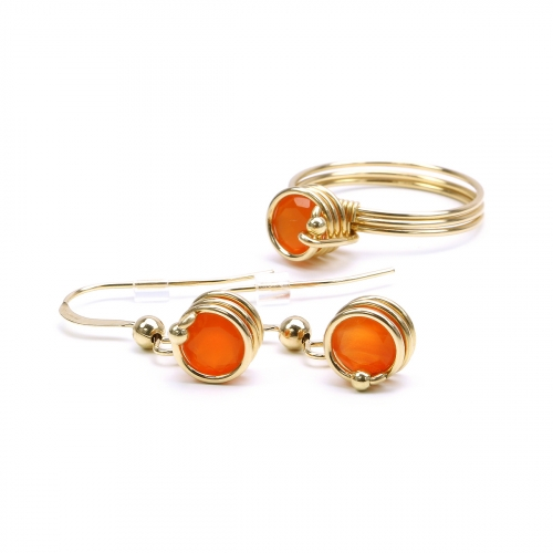 Set ring and earrings by Ichiban - Busted Gemstone Deluxe Carnelian