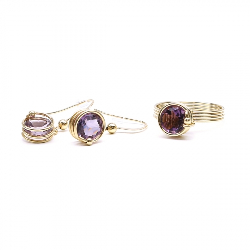 Busted Deluxe Brazilian Amethyst set - ring and earrings