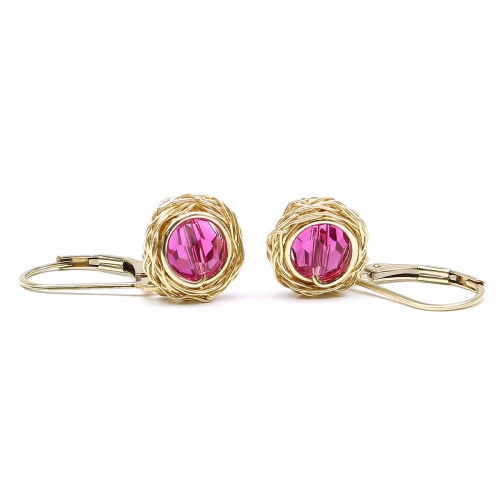 Leverback earrings with Swarovski crystals - for women - Sweet Fuchsia