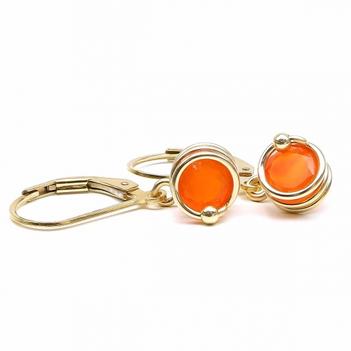 Leverback earrings for women - Busted Deluxe Carnelian