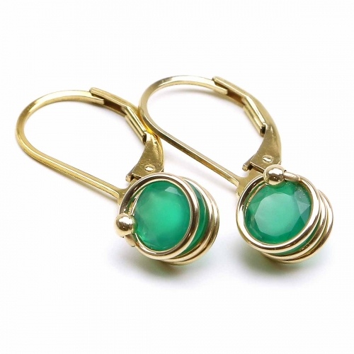 Leverback earrings by Ichiban - Busted Deluxe Green Onyx
