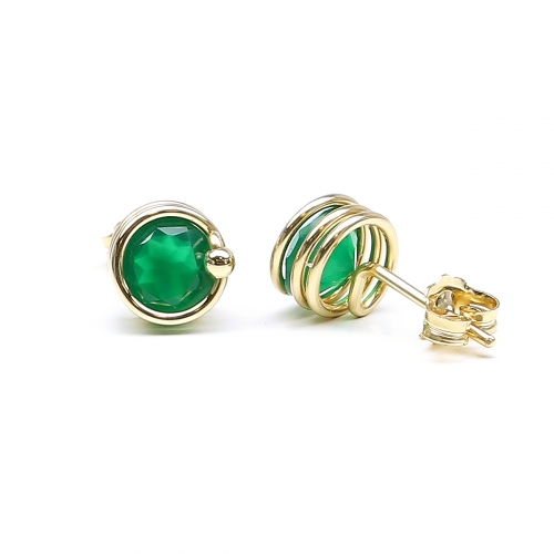 Stud earrings by Ichiban - Deluxe Green Onyx