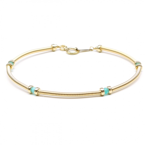 Handmade bracelet for women with blue gems - Vogue Amazonite