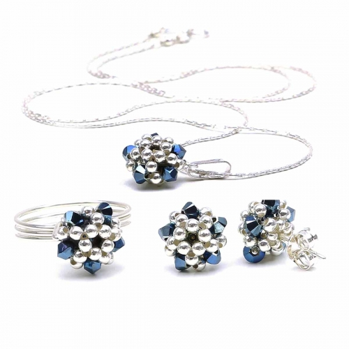Silver set with blue Swarovski crystals - for women -  pendant, ring and stud earrings - Charm Blue