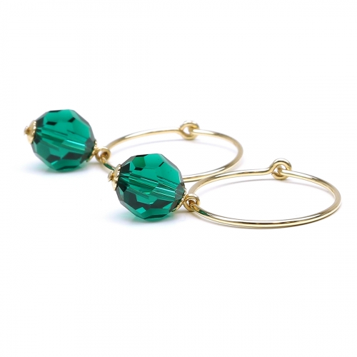 Earrings by Ichiban - Circle Crystal Emerald