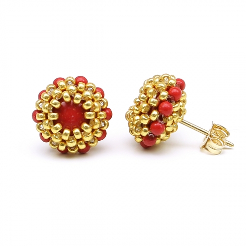 Stud earrings by Ichiban - Teeny Tiny Red Coral