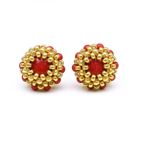 Red Swarovski pearls stud earrings for women - Teeny Tiny Red Coral