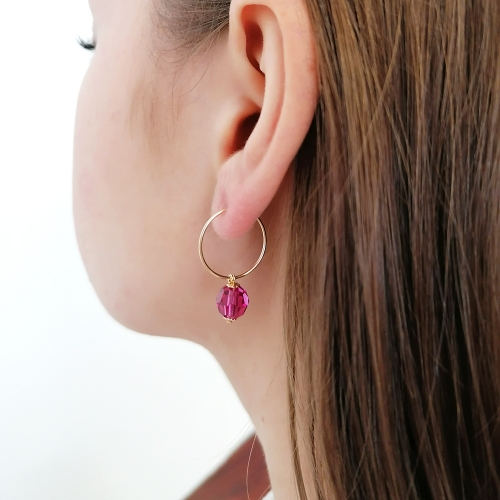 Earrings by Ichiban - Circle Crystal Fuchsia