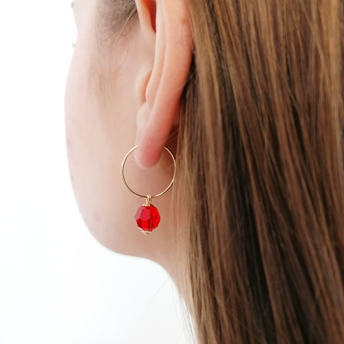 Earrings by Ichiban - Circle Crystal Light Siam