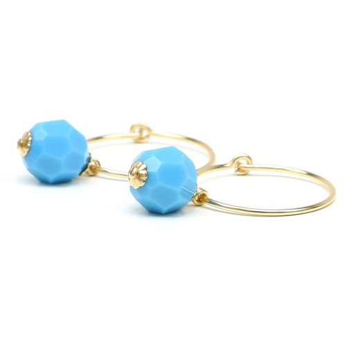 Earrings by Ichiban - Circle Crystal Turquoise