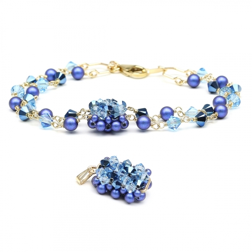 Set bracelet and chainless pendant by Ichiban - Majestic Blue