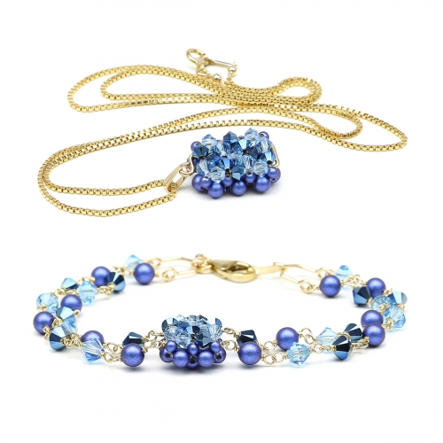 Set bracelet and pendant by Ichiban - Majestic Blue