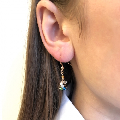 Dangle earrings by Ichiban - Christmas Tree Blue Spiral
