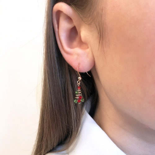 Dangle earrings by Ichiban - Spiral Christmas Tree