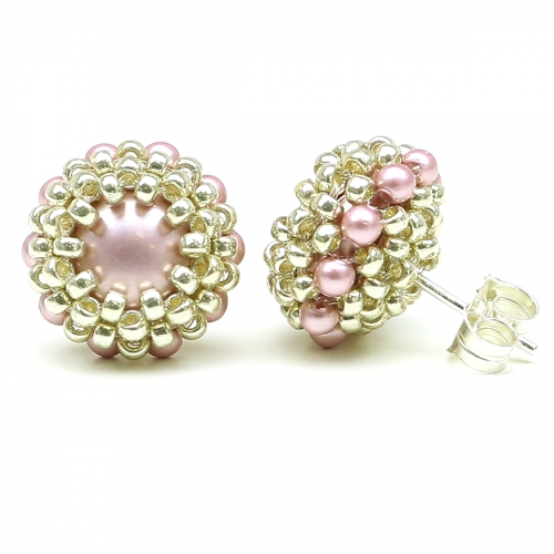 Stud earrings by Ichiban - Teeny Tiny Powder Rose AG925