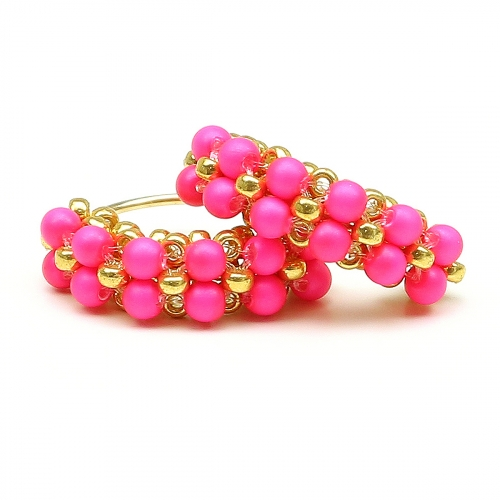 Earrings by Ichiban - MiniDiva Pearls Neon Pink