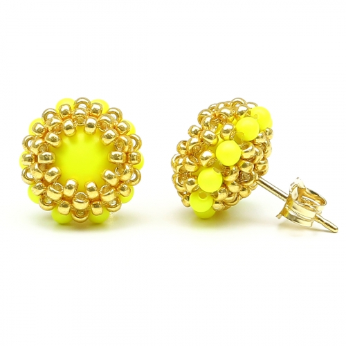 Stud earrings by Ichiban - Teeny Tiny Neon Yellow