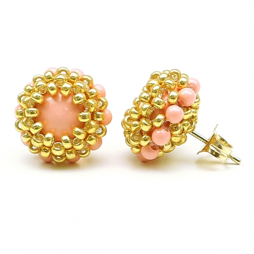 Stud earrings by Ichiban - Teeny Tiny Pink Coral