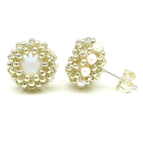 Stud earrings by Ichiban - Teeny Tiny Perlescent White AG925