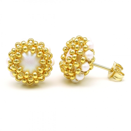 Stud earrings by Ichiban - Teeny Tiny Perlescent White