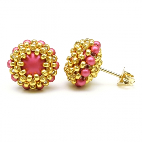 Stud earrings by Ichiban - Teeny Tiny Mulberry Pink
