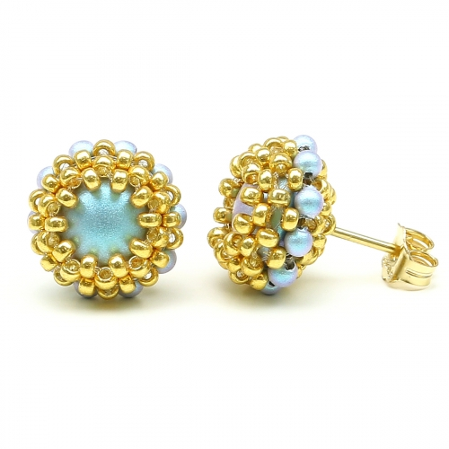 Stud earrings by Ichiban - Teeny Tiny Iridescent Light Blue