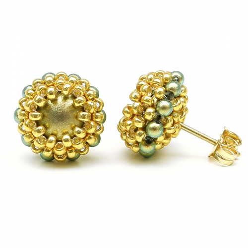 Stud earrings by Ichiban - Teeny Tiny Iridescent Green
