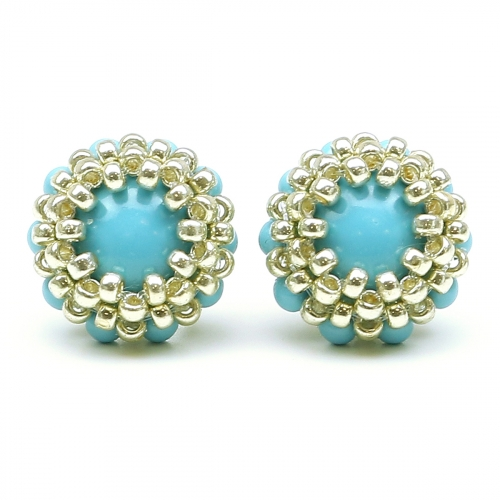 Stud earrings by Ichiban - Teeny Tiny Turquoise AG925