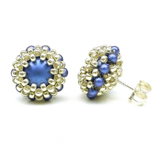 Stud earrings by Ichiban - Teeny Tiny Iridescent dark blue 925 Silver