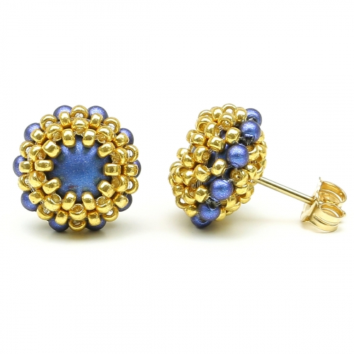 Stud earrings by Ichiban - Teeny Tiny Iridescent dark blue
