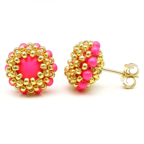 Stud earrings by Ichiban - Teeny Tiny Neon Pink