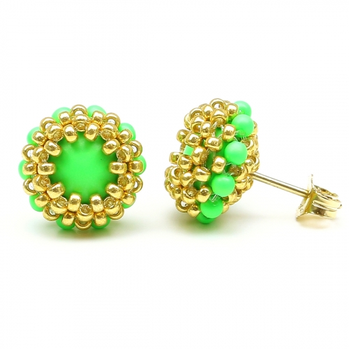 Stud earrings by Ichiban - Teeny Tiny Neon Green