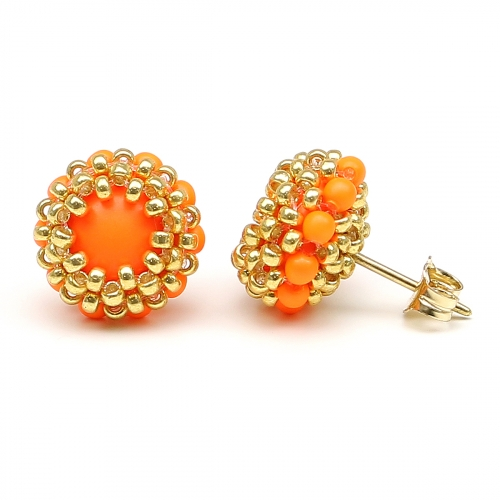 Stud earrings by Ichiban - Teeny Tiny Neon Orange