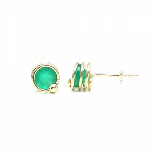Stud earrings by Ichiban - Busted Gemstone Deluxe Green Onyx 14K Yellow Gold
