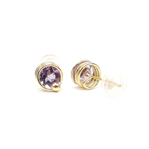 Stud earrings by Ichiban - Busted Gemstone Deluxe Brazilian Amethyst 14K Yellow Gold