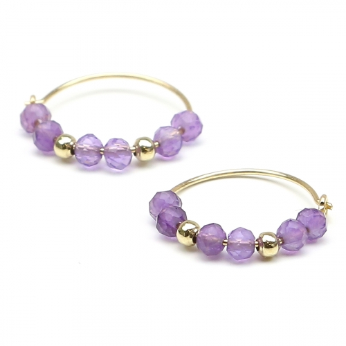 Earrings by Ichiban - Simple Style Amethyst 14K gold