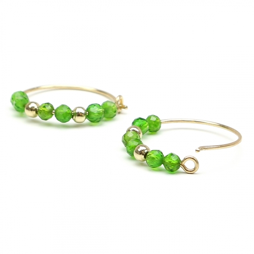 Earrings by Ichiban - Simple Style Chrome Diopside 14K gold